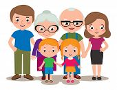 image of grandparent child  - Stock Vector cartoon illustration of a family group portrait parents grandparents and children isolated on white background - JPG