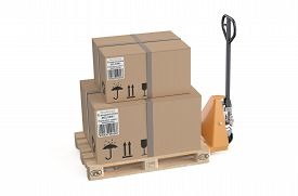 image of jack-in-the-box  - pallet jack with cardboard box isolated on white background - JPG