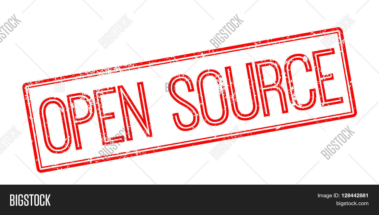 Open Source Red Rubber Stamp On White Stock Vector Stock