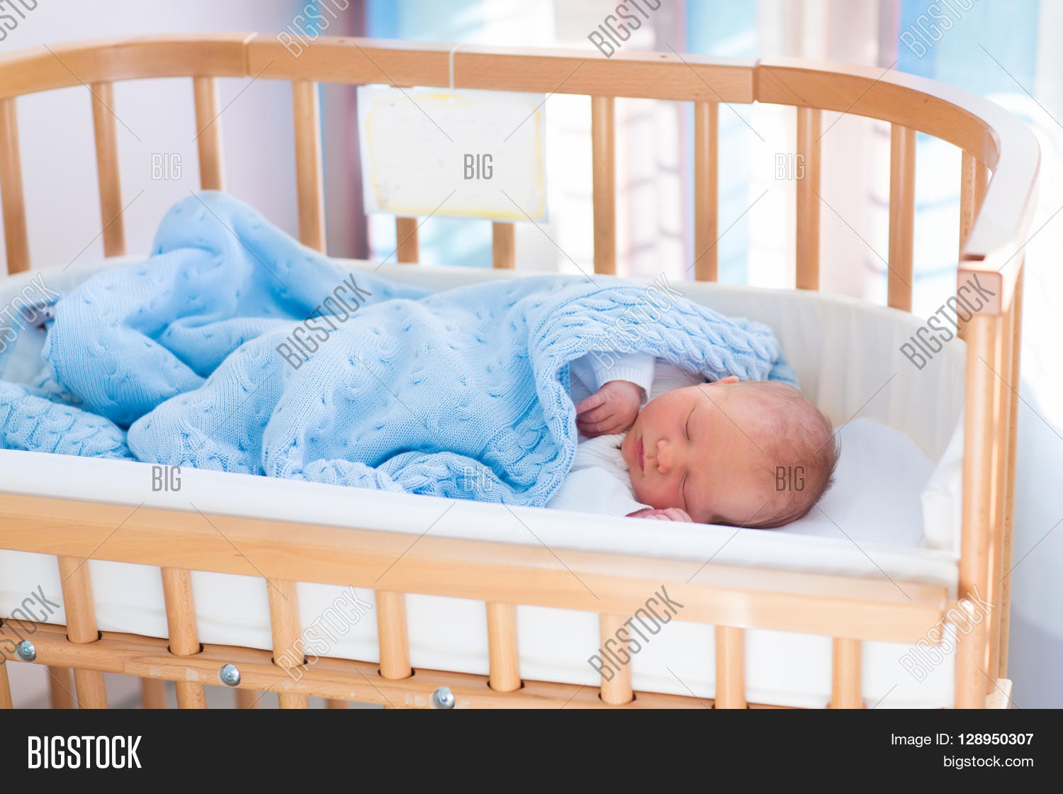 Safest crib for babies - Newborn Baby In Hospital Room New Born Child In Wooden Co Sleeper Crib Infant Sleeping In Bedside
