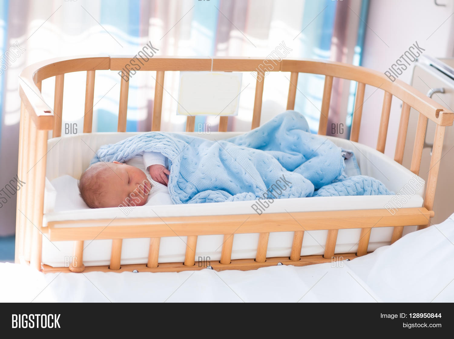 Baby bed co sleeper - Newborn Baby In Hospital Room New Born Child In Wooden Co Sleeper Crib Infant Sleeping In Bedside
