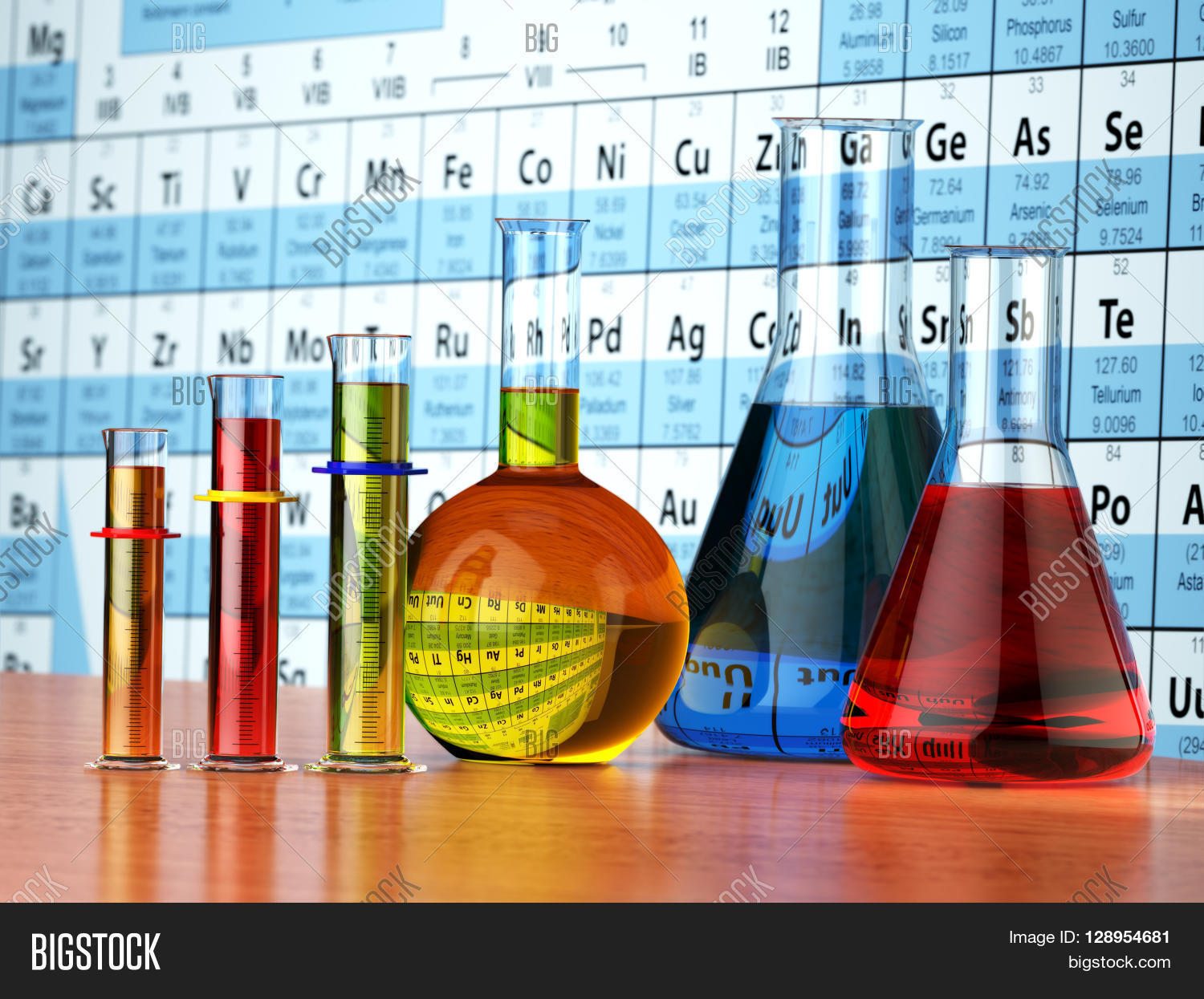 Where are the liquids on the periodic table images periodic science chemistry concept image photo bigstock laboratory test tubes and flasks with colored liquids on the gamestrikefo Image collections