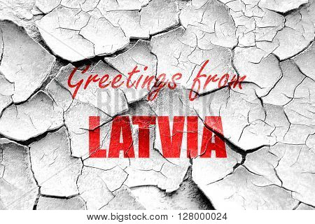 Grunge cracked Greetings from latvia