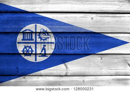 Flag Of Minneapolis, Minnesota, Painted On Old Wood Plank Background