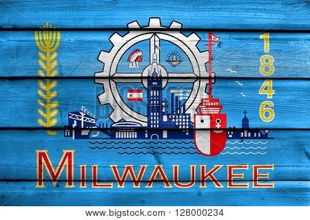 Flag Of Milwaukee, Wisconsin, Painted On Old Wood Plank Background