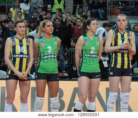 ANKARA/TURKEY-April 30, 2016: Fenerbahce Grundig Volleyball Team players at the Baskent Volleyball Hall during the Volleyball Women 1st Laegue of Turkey Final Four matches. April 30, 2016-Ankara/Turkey