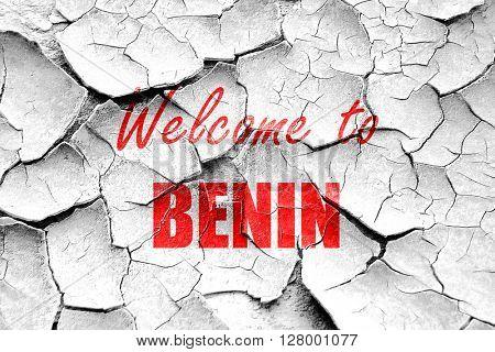 Grunge cracked Welcome to benin