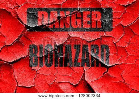Grunge cracked Biohazard sign background