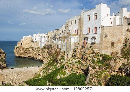 Polignano A Mare, Scenic Small Town Built On Rocks In Bari, Apulia, Italy