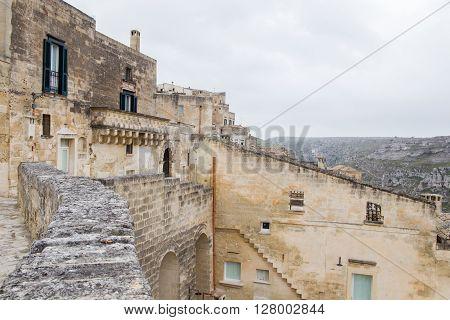Unesco Matera Panoramic Day View, Basilicata, Italy. Sassi Di Matera