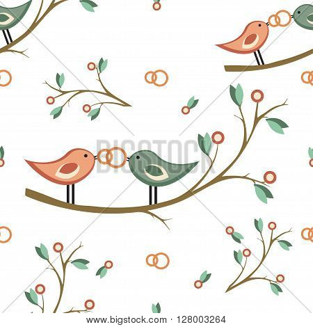 cute vector wedding seamless pattern. seamless pattern with pair of birds on a branch, wedding rings. For wedding decoration, invitation, card, fabric, paper or web. seamless pattern in retro style.