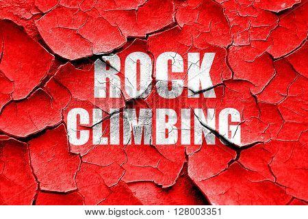 Grunge cracked rock climbing sign background