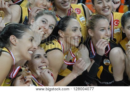 ANKARA TURKEY-APRIL 30, 2016 : Volleyball Women 1st League of Turkey Champion Vakifbank Volleyball Team Players at the Baskent Volleyball Hall during the championship celebration session. April 30, 2016-Ankara/Turkey