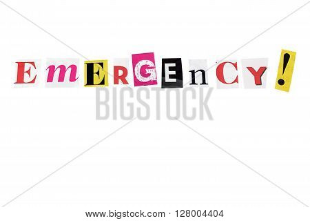 emergency written with daily letters on white background