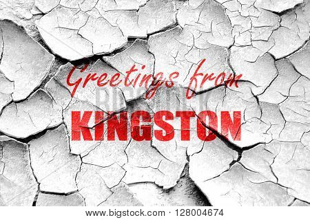 Grunge cracked Greetings from kingston