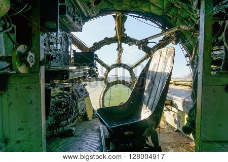 destroyed and old cockpit in the aircraft