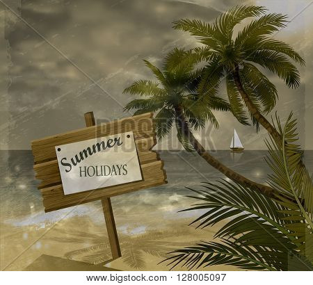 Vector tropical beach with sea sand and palms grange background