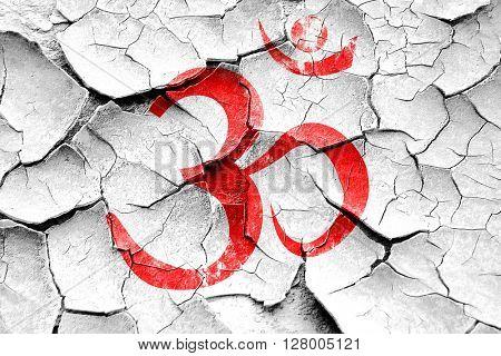 Grunge cracked Om sign icon