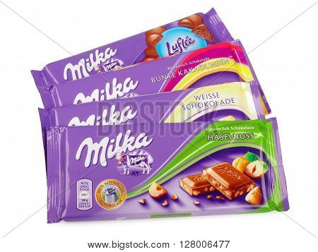 PULA, CROATIA - MAY 1, 2016: Studio shot of a Swiss Milka Chocolate manufactured by Mondelez International.