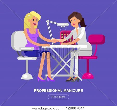 Detailed Manicurist character makes a professional manicure beautiful blond woman.  Web banner template  for beauty saloon
