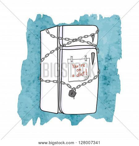 Closed fridge with chain and lock. Diet concept. Vector illustration.