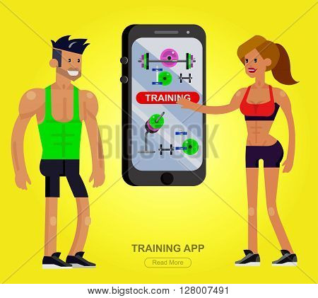 Vector detailed character men and women bodybuilder with big smartphone. Traning app with fitness equipment, cool flat  illustration. Web banner template