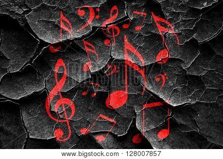 Grunge cracked Music note background