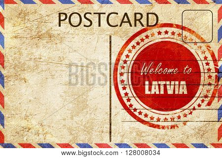 Vintage postcard Welcome to latvia