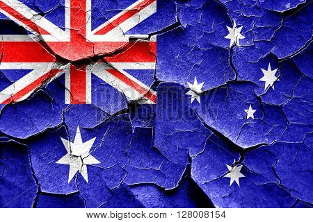 Grunge Australia flag with some cracks and vintage look