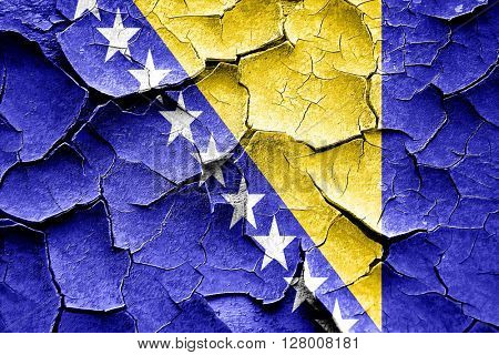 Grunge Bosnia and Herzegovina flag with some cracks and vintage
