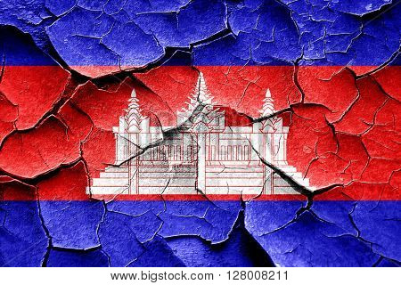 Grunge Cambodia flag with some cracks and vintage look
