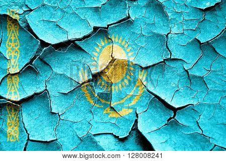 Grunge Kazakhstan flag with some cracks and vintage look