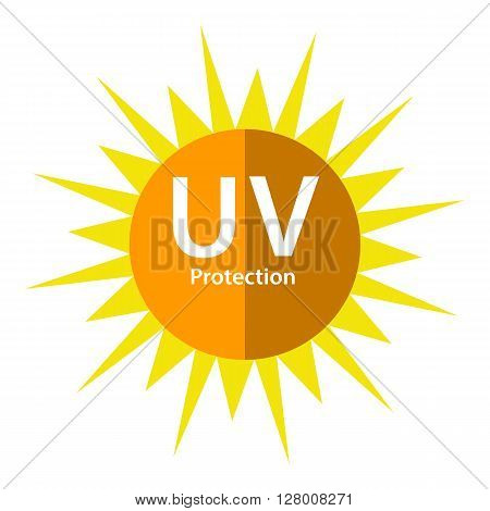 UV Protection logo with sun symbol on white background