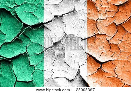 Grunge Ireland flag with some cracks and vintage look