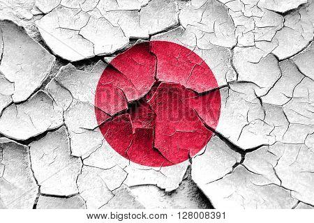 Grunge Japan flag with some cracks and vintage look