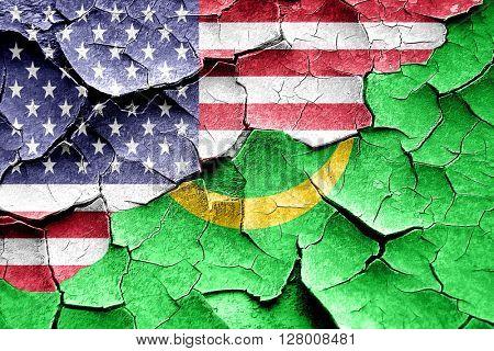 Grunge Mauritania flag with american flag combination