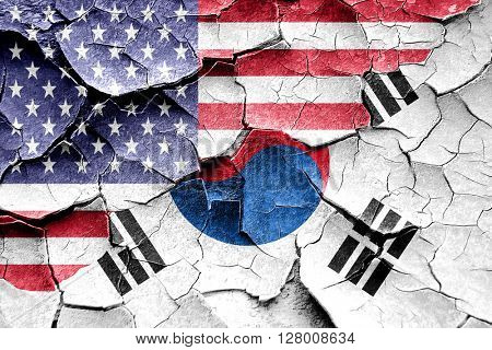 Grunge South korea flag with american flag combination
