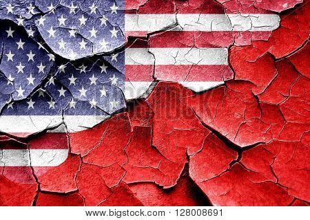 Grunge Tonga flag with american flag combination