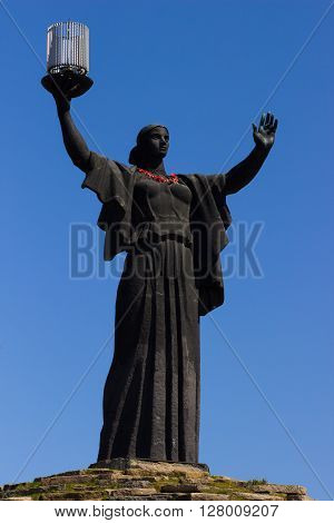 The monument of Motherland Calls in glory hill, memorial complex in Cherkasy, Ukraine.