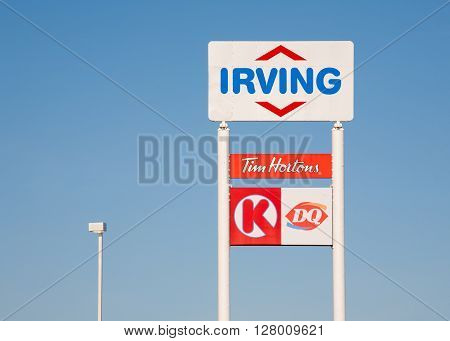 WESTVILLE CANADA - APRIL 30 2016: Irving sign. Irving Oil Ltd. is an energy producing and exporting company including gasoline oil and natural gas.