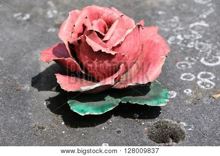 Rose-colored of a grave of a cemetery in Paris