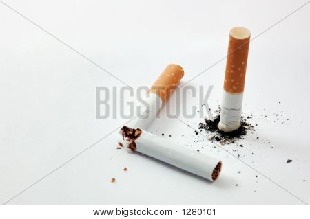 Cigarette Stub And Broked Cigarette