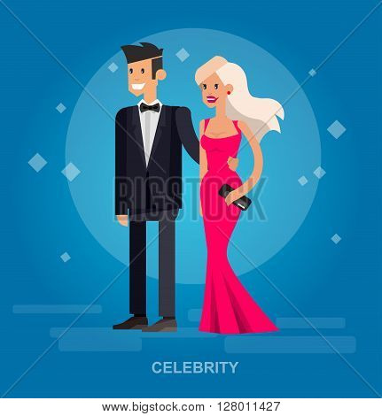 Vector detailed character rich and beautiful celebrities, man in tails and blond woman in evening dress  Flat style vector illustration