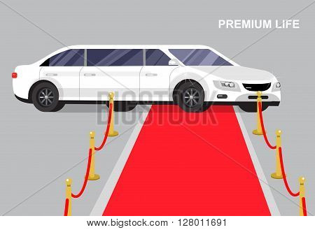 detailed vector luxury white limousine car and red carpet for world premiere celebrities and guests