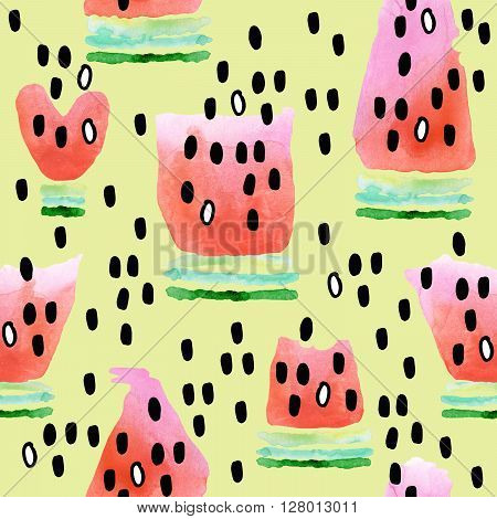 Watermelon. Seamless pattern with watermelon. Watermelon slice watercolor illustration. Cute watermelon background. Fresh watermelon.