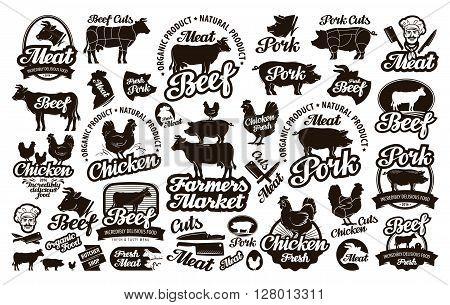 Butchery, meat. Set logos, icons, elements, labels. vector illustration