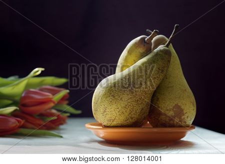 Still Life with tulips and three pears on dark purple background.