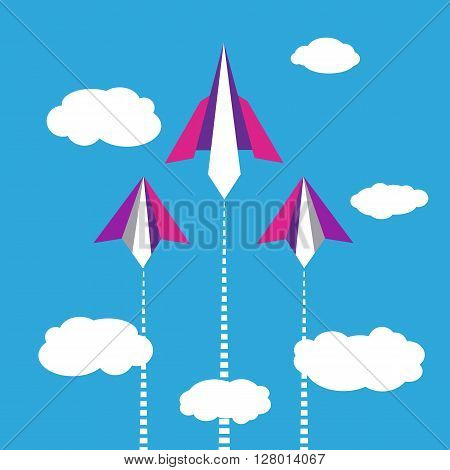 Paper planes flying in blue sky with clouds. Start up poster concept. Leadership or career concept. Migration concept. Travel, vacation, post letter delivery service concept. Vector illustration