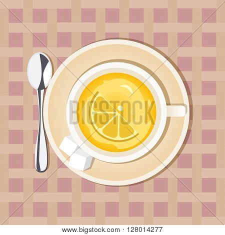 Tea time concept. Good morning hot drink Concept.  Lemon Tea Cup. Lemon hot drink. Dieting sliced fruit. Citrus drink. Healthy green tea. Vintage decoration. Vector illustration