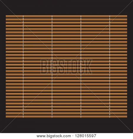 Traditional makisu woven mat for sushi rolls. Japan bamboo mat for making sushi.
